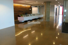 The Bomanite VitraFlor Custom Polishing System was installed here to create a decorative and durable custom polished concrete flooring surface with features like slip resistance and breathability for optimal health and safety, and a stunning finished product that complements the interior finishes.