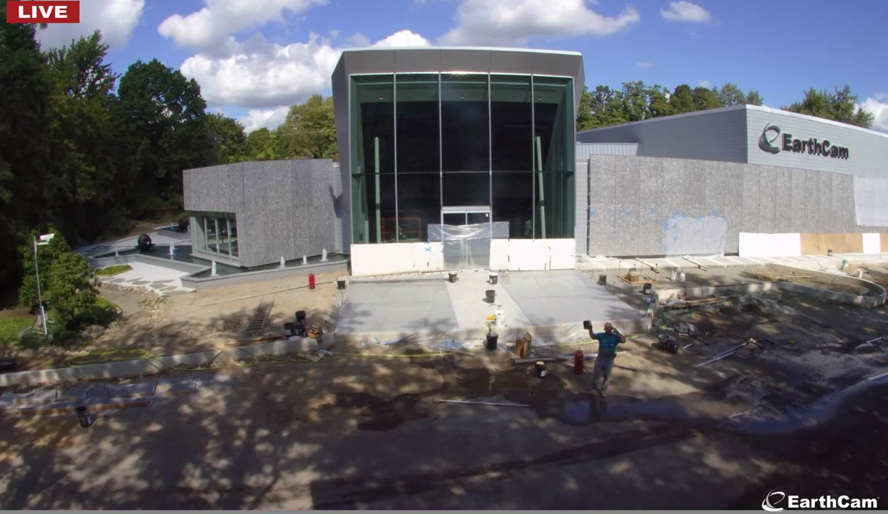 Bomanite installation of Bomanite Alloy at EarthCam World Headquarters in New Jersey by Ira Goldberg of Beyond Concrete in a real-time feed and also available in time lapse.