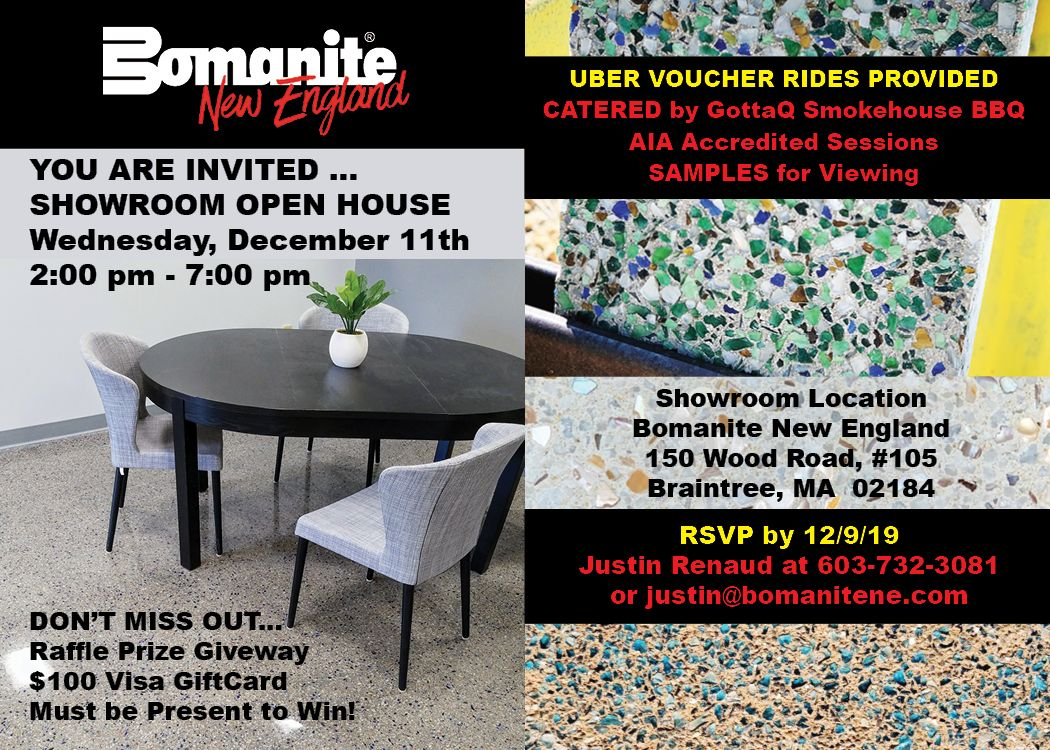 Bomanite New England Showroom Open House scheduled for Wednesday, December 11, 2019 in Braintree, MA with AIA Accredited Sessions.