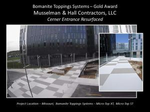 Musselman and Hall Kansas City MO installed an alternation pattern of Bomanite Micro-Top XT and Bomanite Micro-Top ST in two different Gray Patterns for the Kansas City Cerner Campus earning them a Gold Award at the Bomanite Decorative Concrete Annual Awards Program.