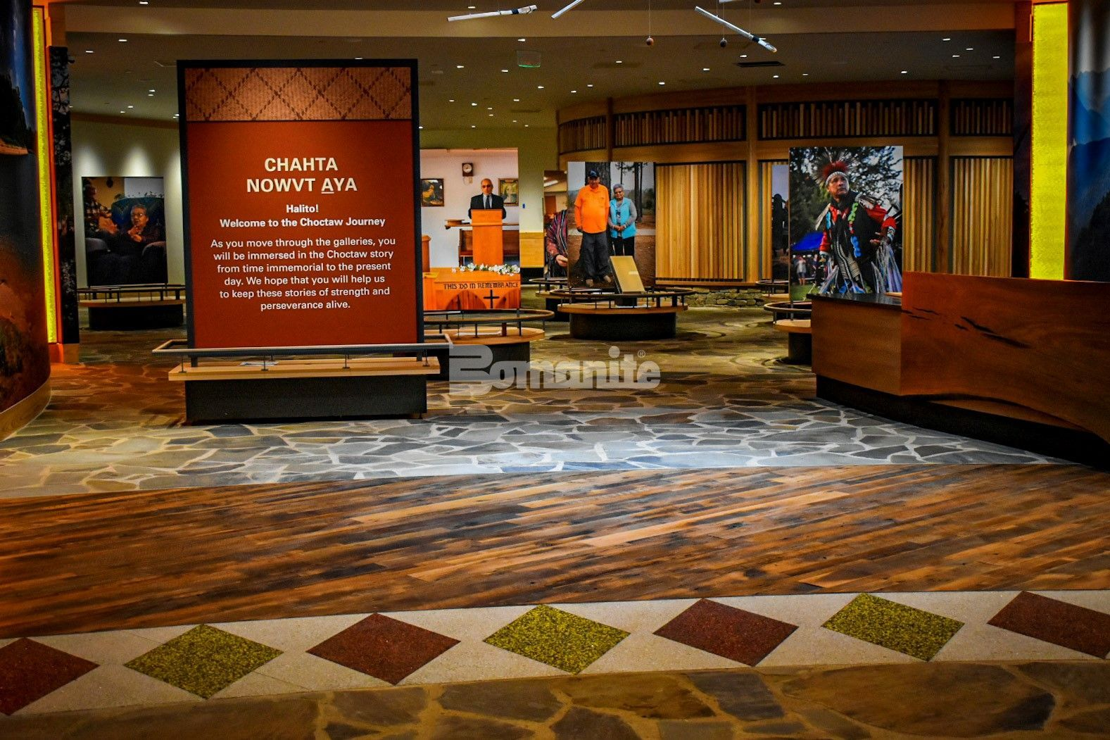 Bomanite of Tulsa, Inc worked with the Choctaw Cultural Center in Durant, OK, to bring to life the art and design for the interior entrance flooring with the Bomanite Revealed and Bomanite Sandscape Exposed Aggregate Systems.